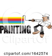Cartoon Black Male Painter Using A Roller Brush To Paint A Rainbow