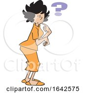 Cartoon Forgetful Hispanic Woman With A Question Mark