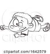 Cartoon Lineart Boy Doing An Army Crawl