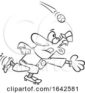 Cartoon Lineart Baseball Player Going In For A Catch