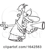 Cartoon Lineart Energetic Boss Shouting Through A Megaphone