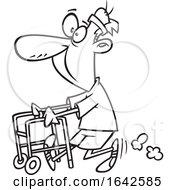 Cartoon Lineart Feisty Old Man Walking With A Walker