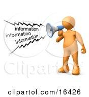 Orange Person Shouting Information Through A Megaphone Clipart Illustration Graphic