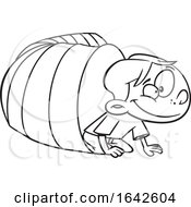 Cartoon Lineart Boy Crawling From A Tunnel