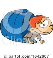 Cartoon White Boy Crawling From A Tunnel