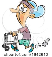 Cartoon Feisty Old White Woman Walking With A Walker by toonaday