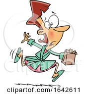 Cartoon White Mother Or Wife Running With A Forgotten Lunch Bag