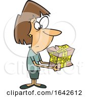 Cartoon White Woman Holding A Mangled Fragile Package