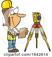 Cartoon White Female Surveyor Taking Notes