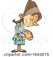 Cartoon Happy New White Mom Holding Her Baby