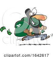 Cartoon Robber Running After A Bank Heist