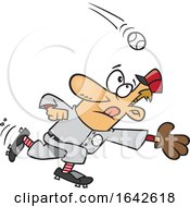 Cartoon Baseball Player Going In For A Catch