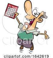 Cartoon White Male Bingo Winner Player Jumping
