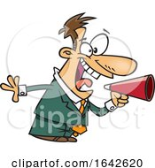 Cartoon White Male Energetic Boss Shouting Through A Megaphone