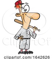 Cartoon Baseball Player Standing With A Bat