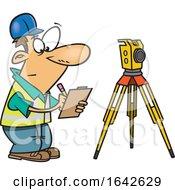 Cartoon White Male Surveyor Taking Notes