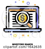Icon Of Magnifying Glass And Investors List For Business Angel Search Concept