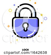 Icon Of Lock Which Symbolizes Safe Protection For SEO Concept Flat Filled Outline Style
