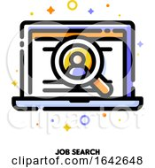 Icon Of Laptop With Candidates Profile Inside Magnifier For Job Search Or Professional Staff Recruitment Concept