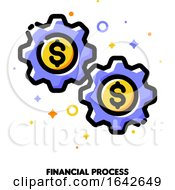 Icon Of Gear Wheels With Dollar Sign For Financial Process Or Earning Money Online Concept