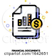Icon Of Stacked Paper Documents Pile With Business Report Bar Graph For Stock Market Or Financial Statement Analysis Concept