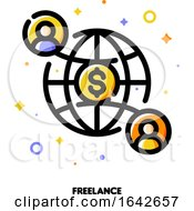 Icon Of Two Abstract People On Background Of Globe For Freelance Or Self Employment Concept