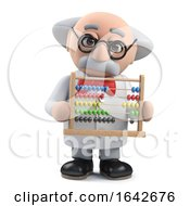 3d Mad Scientist Professor Character Holding An Abacus