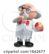 3d Mad Scientist Professor Character Surprised By An Apple