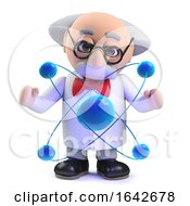 3d Mad Scientist Professor Character Studying An Atom