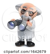 3d Mad Scientist Professor Character Using A Pair Of Binoculars by Steve Young