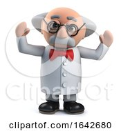 3d Mad Scientist Professor Character Is Excited At A Discovery by Steve Young