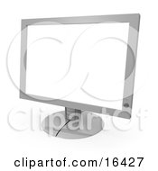 Silver Flat Screen Computer Monitor Screen Clipart Illustration Graphic by 3poD