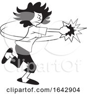 Cartoon Black And White Woman Fighting Back by Johnny Sajem