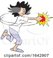 Cartoon Hispanic Woman Fighting Back by Johnny Sajem
