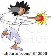 Cartoon Black Woman Fighting Back by Johnny Sajem