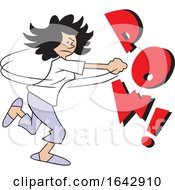 Cartoon Hispanic Woman Fighting Back With POW Text