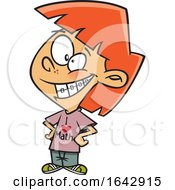 Cartoon Red Haired Girl With Braces Wearing A I Love Math Shirt
