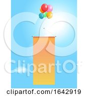Flying Copy Space Banner With Balloons On Sunny Sky