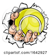 Poster, Art Print Of Tennis Ball Hand Tearing Background