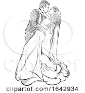 Sketched Bride And Groom Kissing