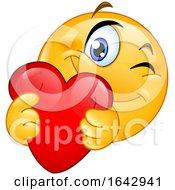 Poster, Art Print Of Cartoon Emoji Smiley Hugging A Love Heart