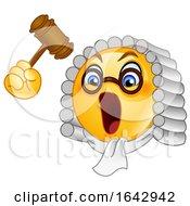 Poster, Art Print Of Cartoon Emoji Smiley Judge Banging A Gavel