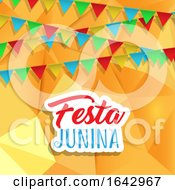 Festa Junina Background With Banners On Low Poly Design