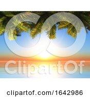 3D Palm Tree Leaves Against A Sunset Ocean Landscape