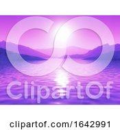 3D Purple Sunset Ocean Landscape