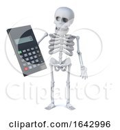 3d Skeleton Does The Math On A Calculator