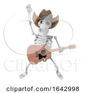 3d Cowboy Skeleton Leaps In The Air With His Acoustic Guitar by Steve Young