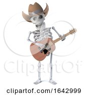 3d Cowboy Skeleton Plays Acoustic Guitar by Steve Young