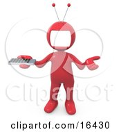 Red Person With A Tv Monitor As A Head Shrugging And Holding A Television Remote Control
