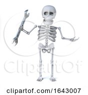3d Skeleton Mechanic Holding A Spanner